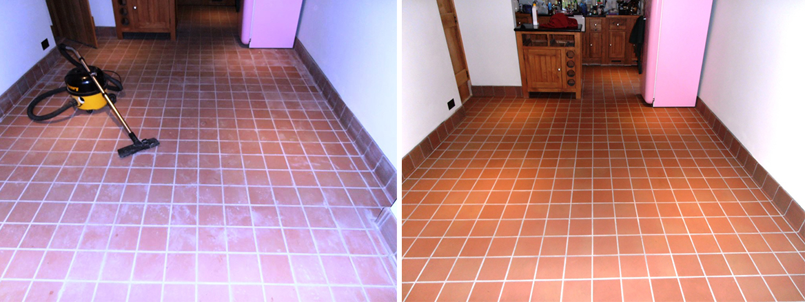 Cleaning and Removing Grout Haze from a Quarry Tiled floor in Kemsing, Kent