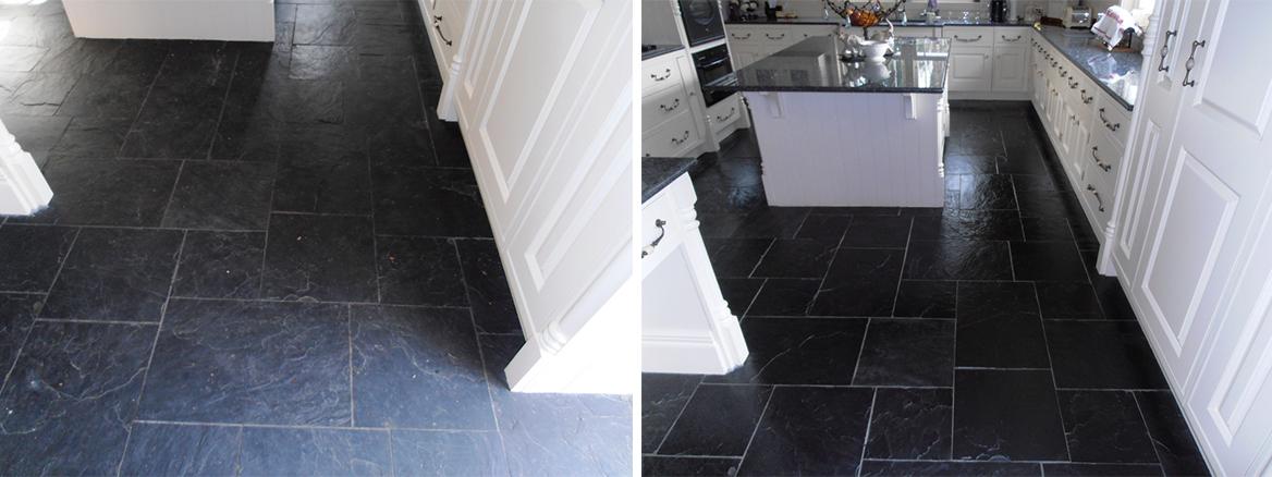 Tired Black Slate Tiled floor in Sevenoaks Restored