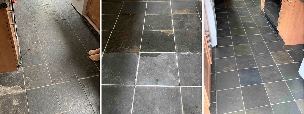 Slate Kitchen Floor Renovated in Rochester